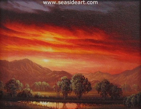 Illumination is a miniature oil painting by Clifford Bailey of a sunset