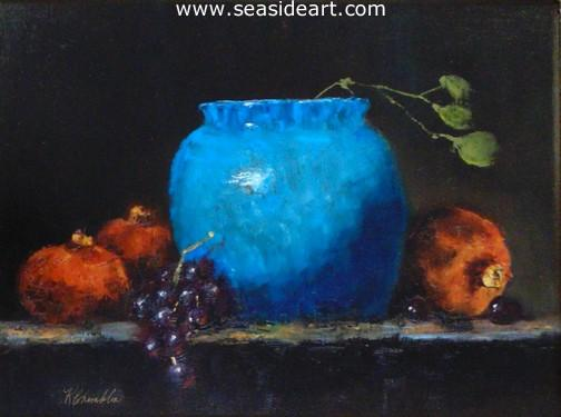 Pomegranates and Turquoise   is an original oil painting by Karen Chamblin.
