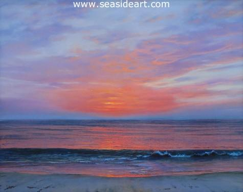 Scarlet Sunrise is a pastel drawing by Lori Goll. This art celebrates the Outer Banks, NC
