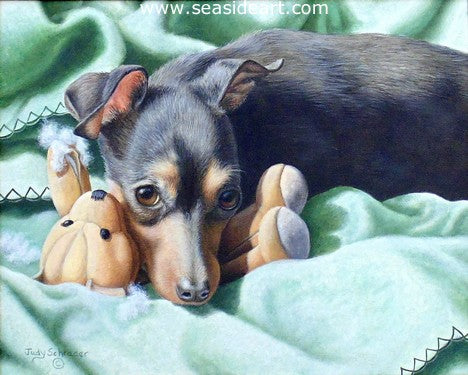 Trouble - Min Pin is an oil painting by Judy Schrader