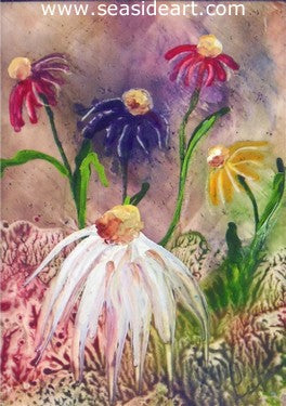 Splash of Color is a miniature encaustic painting by Carol Lopez of flowers