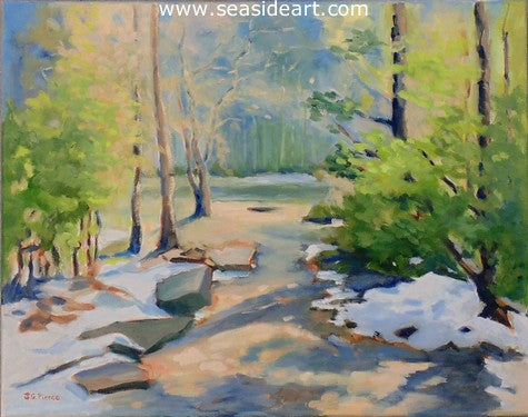 Spring Thaw is an oil painting by Outer Banks artist, Janet Pierce. This is created in an impressionistic style.