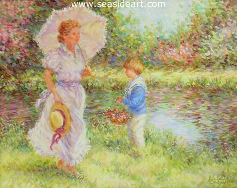 Summer by the Pond is an original oil painting by Karin Schaefers