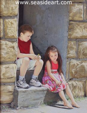 The Last Dandelion is an original watercolor painting of two children by Lynn Ponto Peterson