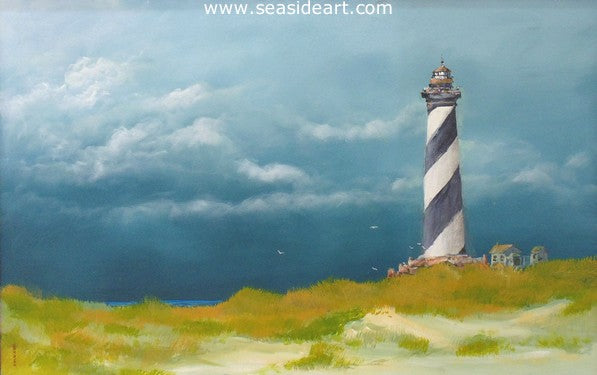 The Light at Hatteras is an original acrylic painting on canvas by the artist, Dan Dunn. This is of the Hatteras Lighthouse