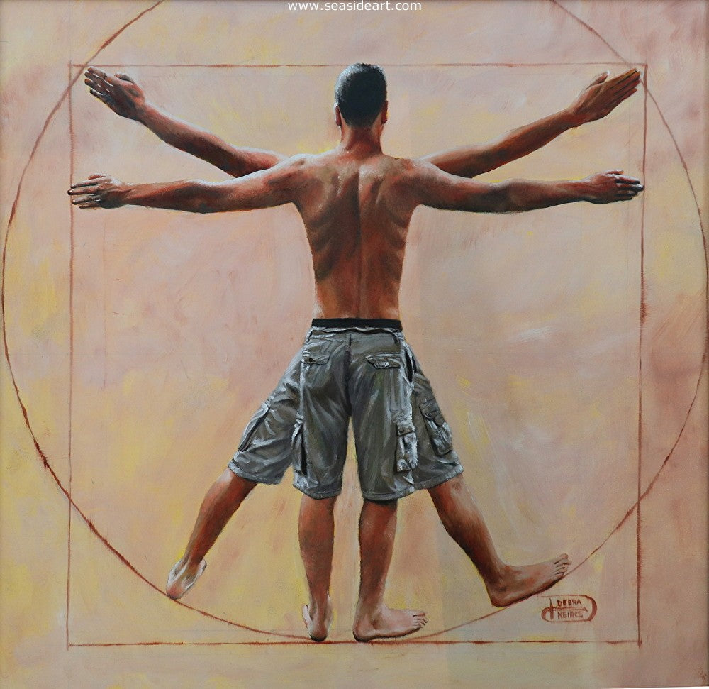 Vitruvian Son is an oil painting by the artist, Debra Keirce. It was inspired by Leonardo de Vinci