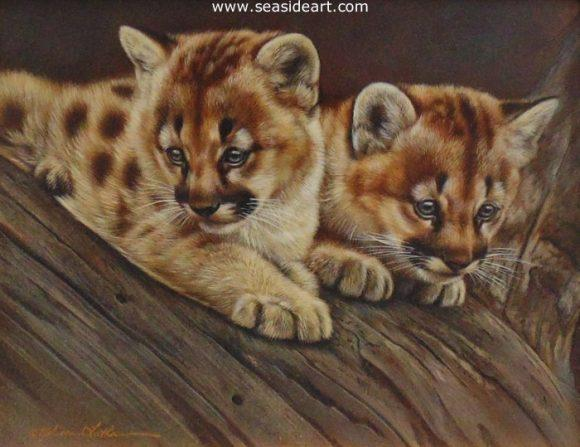 Wonder - Mountain Lion Kittens is a watercolor painting by Rebecca Latham.
