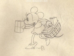 Mickey Mouse is an animator's pencil drawing used to created the cartoon short Building a Building