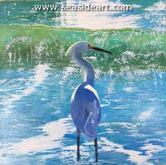 Backlit Heron is an original acrylic painting by Elizabeth Elgin