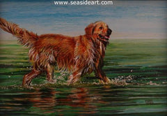 H2O is an original oil painting of a golden retriever by the artist, Debra Keirce