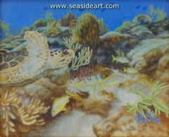 Hawkbill Sea Turtle's Hunting Grounds is an  original  oil painting on ivorine by Beverly Abbott