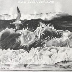 Mighty Waves is a graphite drawing by Sue de Learie