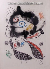 The Fugitive by Joan Miro is an original etching and aquatint signed in pencil