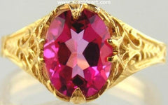 Pink Topaz Ring in 14kt Yellow Gold filigree