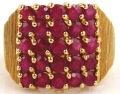 Ruby Ring 14kt Yellow Gold. A very classy ladies ring. The square top contains five rows of five round cut rubies