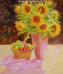 Sunflower Bouquet is an original oil painting by Karin Schaefers. The art is created in an impressionistic style.