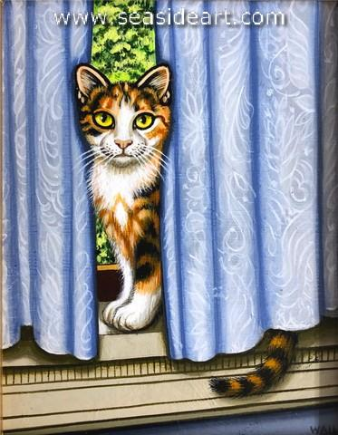Afternoon Retreat by Sue Wall. Painting of a Cat.