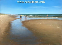Beach Reflections a pastel painting by artists Lori Goll.
