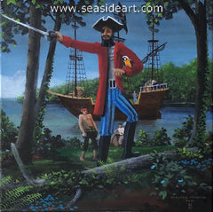 Blackbeard on the OBX is an original oil painting on canvas by Chester Martin
