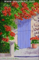 Blue Door is a miniature oil painting Nan McCarthy