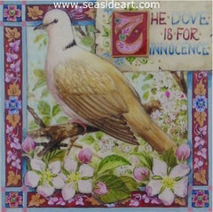 The Dove is for Innocence is a miniature gouache on vellum painting by Debby Faulkner Stevens