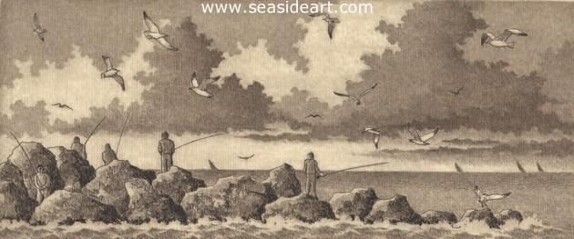 Fishing the Inlet is an etching by artist, David Hunter