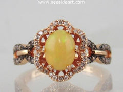 Opal & Diamond Ring 14kt Rose Gold