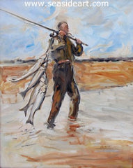 Hatteras Man is an original oil painting on canvas by artist, Gregory Kavalec