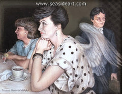 Her Little Secrets (Wings of Creativity) is an acrylic painting by Yvonne Wright