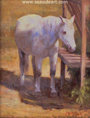 Ocracoke Island Rescue is an oil painting by Jean Cook of a horse