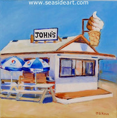 John's Drive Inn titled One Hour Before the Crowds is an oil painting by Janet Pierce and Outer Banks artist