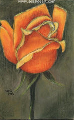 Yellow Orange Rose is a colored pencil by Connie Cruise Outer Banks artist