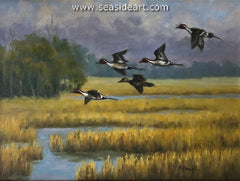 Pea Island Visitors is an original oil painting by Beth Parcell.