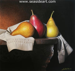 Three Pears is an original gouache painting by Lynn Ponto-Peterson.