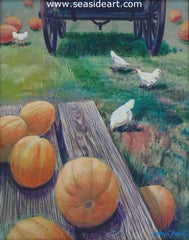 Pumpkins is an original acrylic painting by the artist, Allan Jones