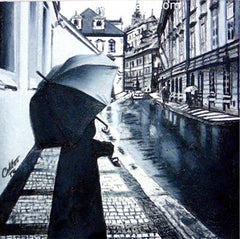 Rainy Day in Prague is a miniature prismacolor pencil drawing by Colton Calhoun