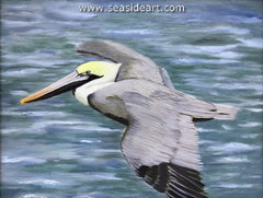 Smooth Sailing is an acrylic painting of a pelican by the OBX artist, Connie Cruise