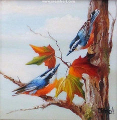 The Secret is a miniature oil painting on ivorine of two bluebirds by Gail MacArgel