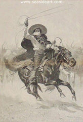 Toro Toro is a wood engraving after Frederic Remington