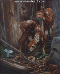 Twins - Fawns is a watercolor painting by Karen Latham