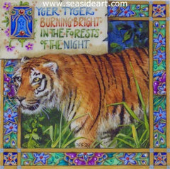 Tyger, Tyger is a miniature painting by Debby Faulkner Stevens. The art is created in gouache on vellum.