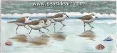 What's the Rush? is a water colored etching of sand pipers by the award winning artist, David Hunter