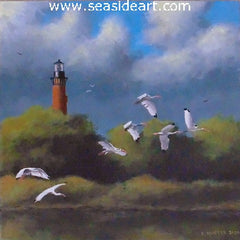 White Ibis at Currituck is an original acrylic painting on canvas by the artist, David Hunter. This is of the Currituck Lighthouse, NC.