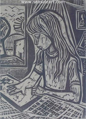 Young Artist is an original wood cut by Irving Amen