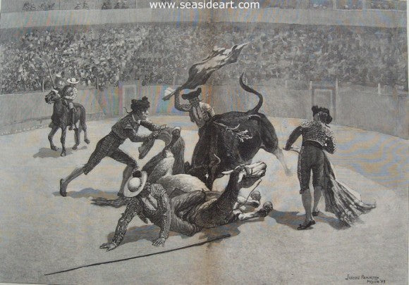 A Bull Fight in Mexico by Frederic Sackrider Remington - Seaside Art Gallery