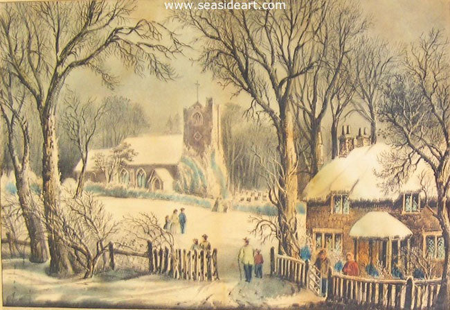 An English Winter Scene by Currier & Ives - Seaside Art Gallery