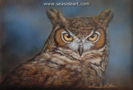 Outlook-Great Horned Owl by Bonnie Latham - Seaside Art Gallery