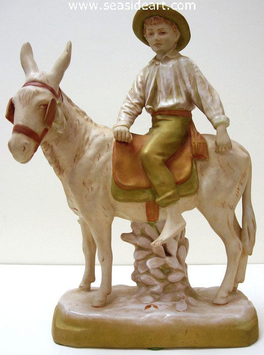 Boy On A Donkey by Royal Dux - Seaside Art Gallery