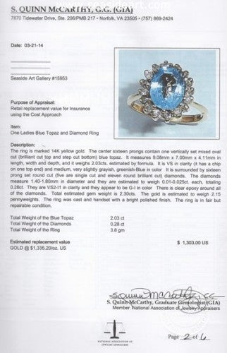 Blue Topaz & Diamond Ring 14kt Yellow Gold by Jewelry - Seaside Art Gallery
