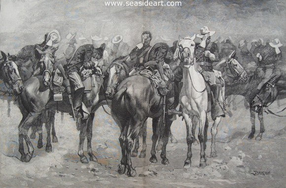 Calvary in An Arizona Sand Storm by Frederic Sackrider Remington - Seaside Art Gallery